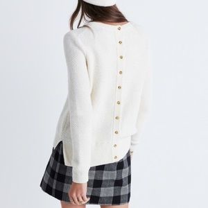 Madewell Backroad Button Back Sweater in Oatmeal